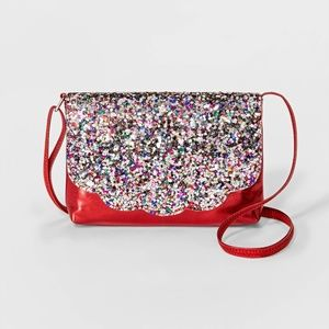 NWT Girls Red Glitter Crossbody Purse Cat & Jack